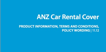 ANZ car rental cover policy